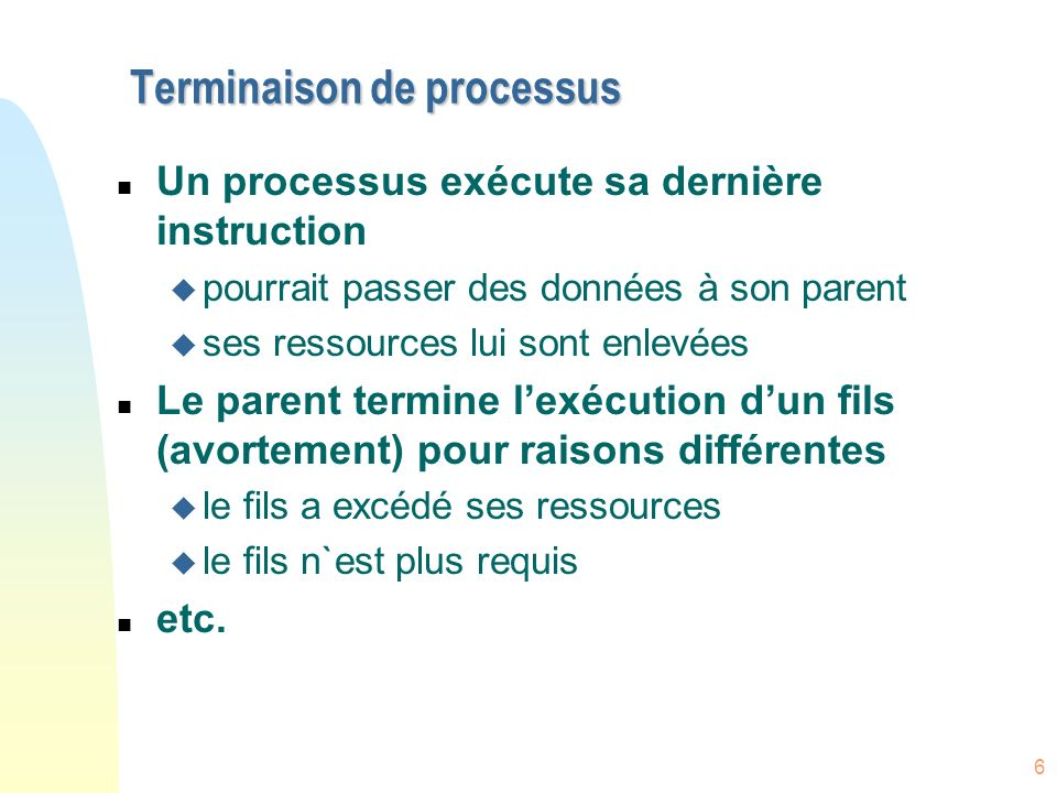 Terminaison de processus