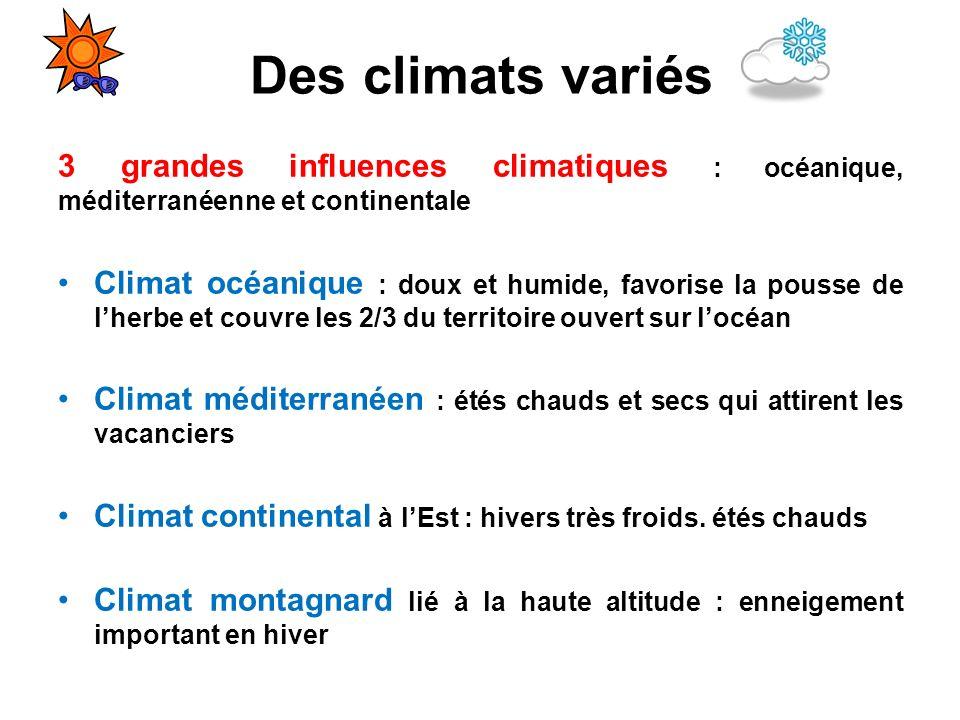 Des climats variés 3 grandes influences climatiques : océanique, méditerranéenne et continentale.