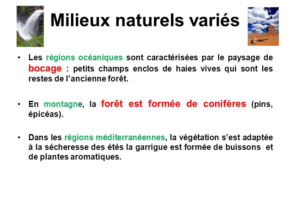 Milieux naturels variés