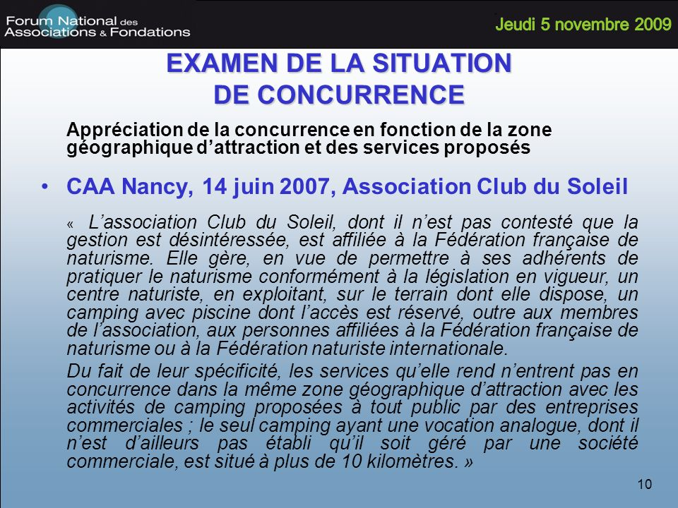 EXAMEN DE LA SITUATION DE CONCURRENCE