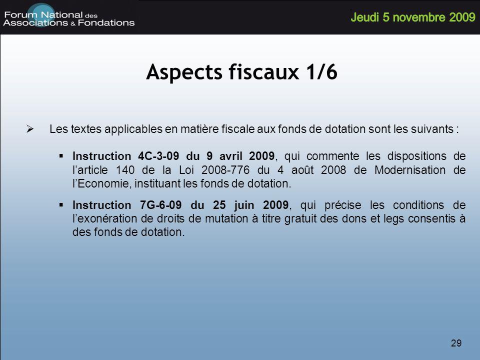 Aspects fiscaux 1/6 Les textes applicables en matière fiscale aux fonds de dotation sont les suivants :