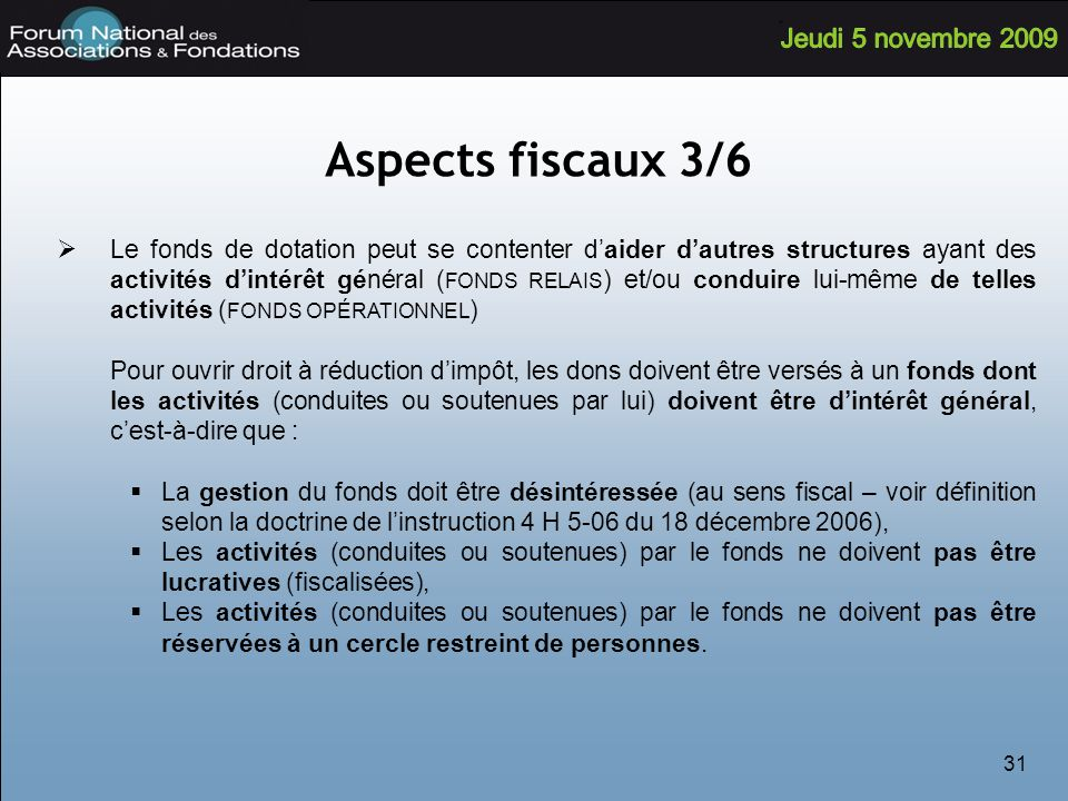 Aspects fiscaux 3/6
