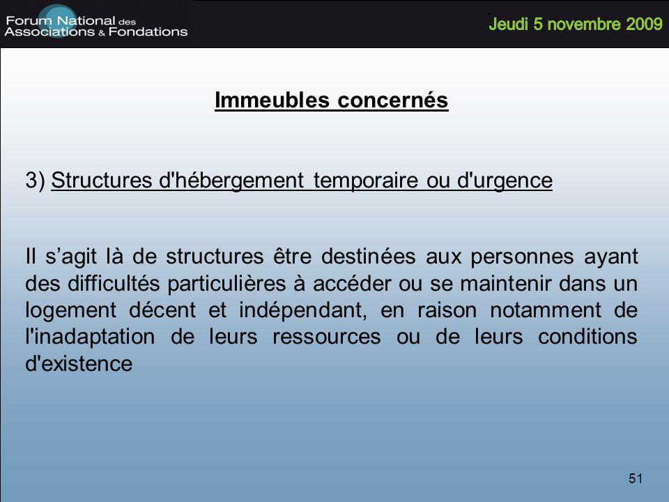 3) Structures d hébergement temporaire ou d urgence