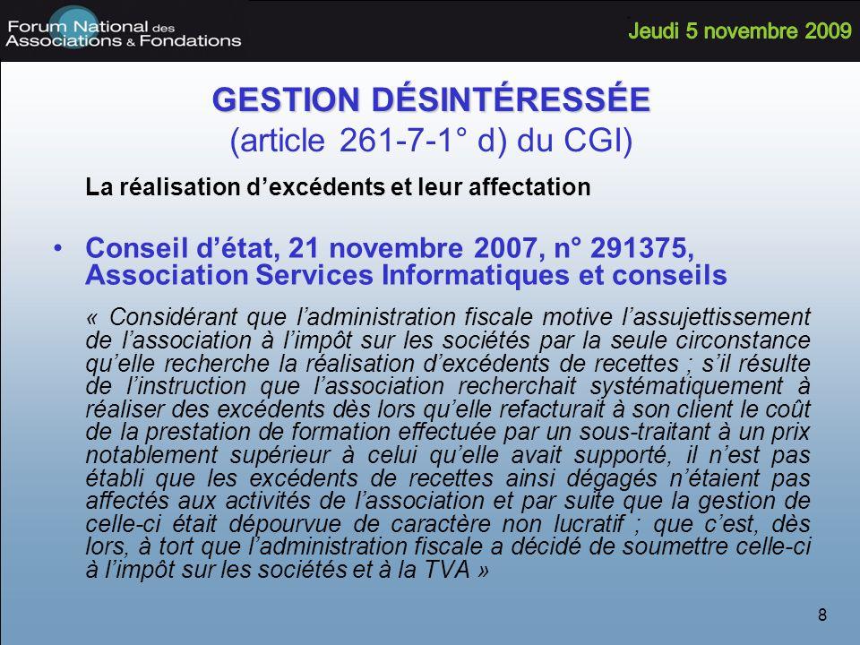 GESTION DÉSINTÉRESSÉE (article 261-7-1° d) du CGI)