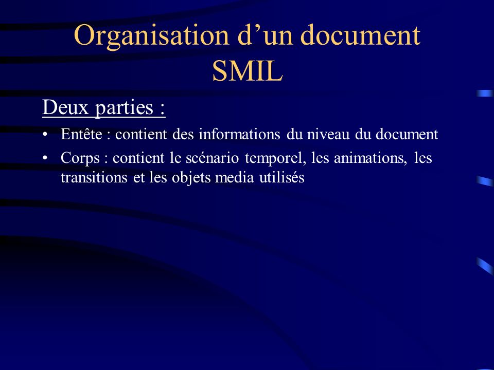 Organisation d'un document SMIL