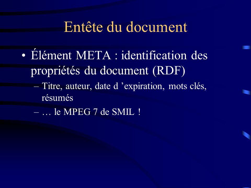 Entête du document Élément META : identification des propriétés du document (RDF) Titre, auteur, date d 'expiration, mots clés, résumés.