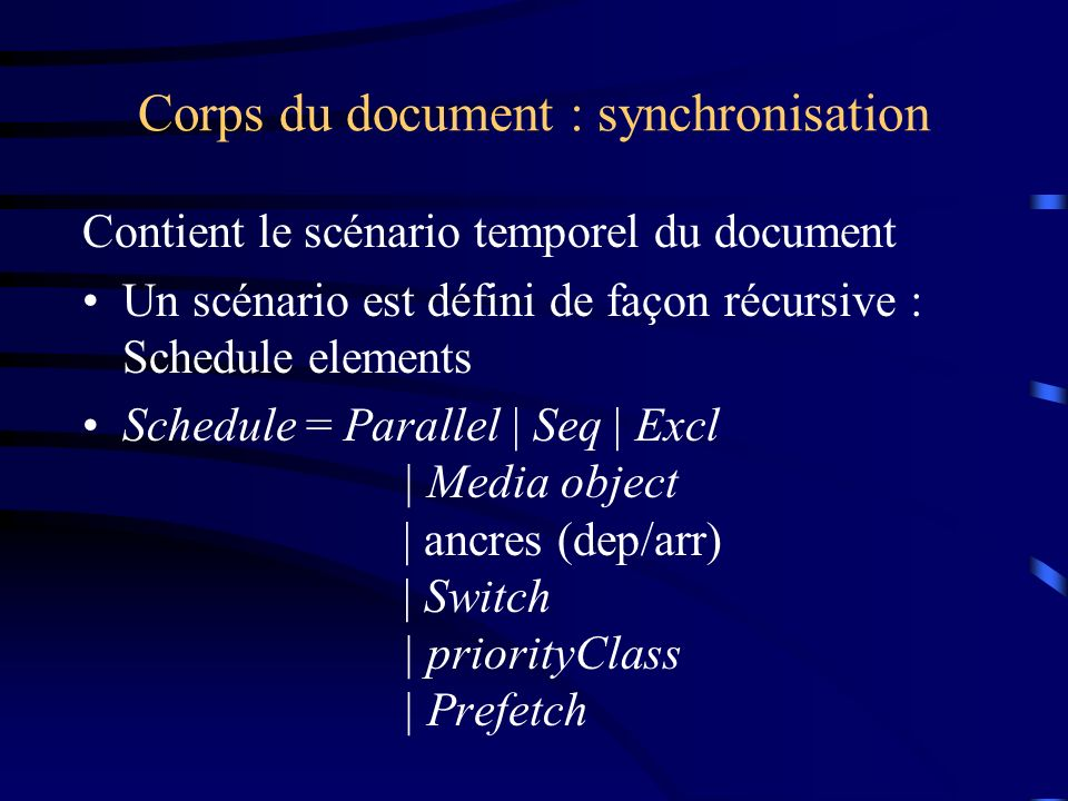 Corps du document : synchronisation
