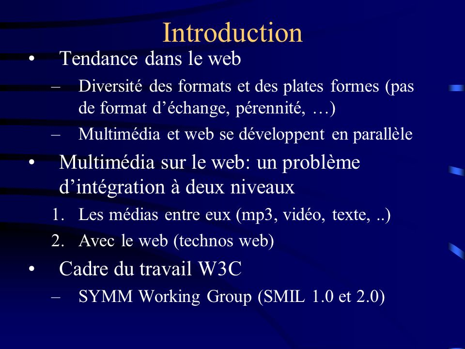Introduction Tendance dans le web