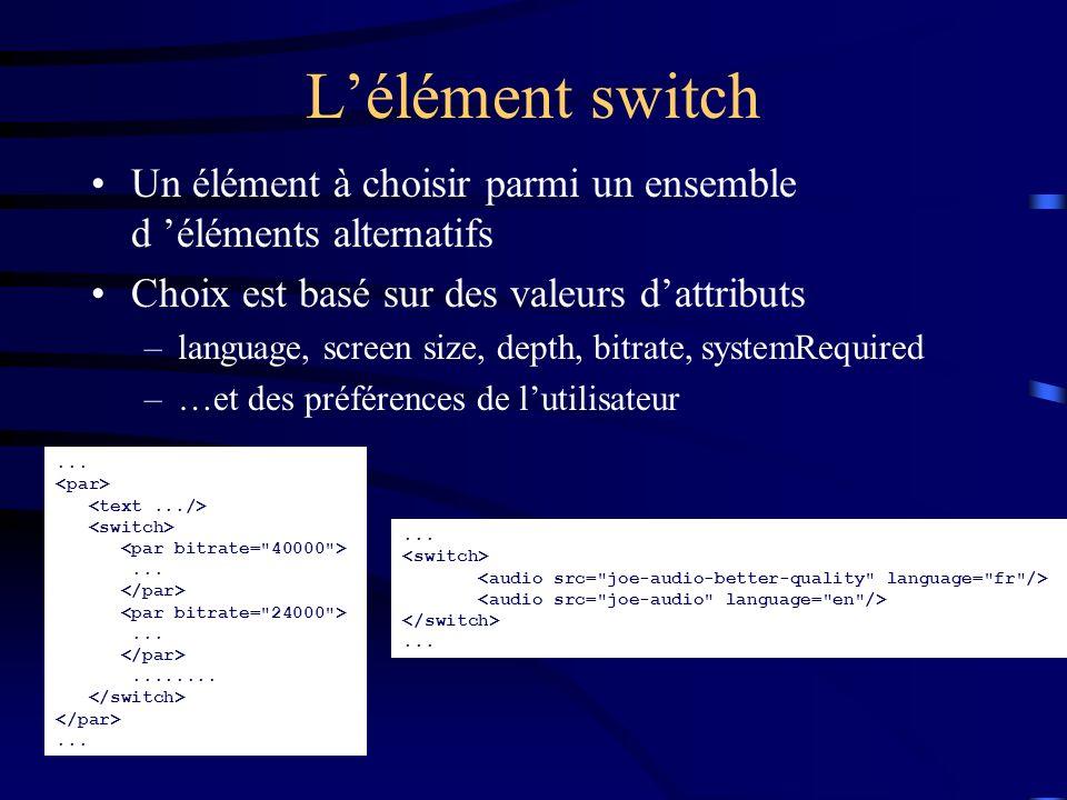 L'élément switch Un élément à choisir parmi un ensemble d 'éléments alternatifs. Choix est basé sur des valeurs d'attributs.