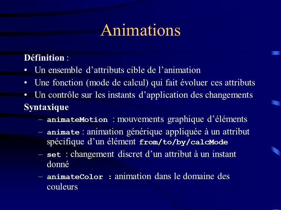 Animations Définition : Un ensemble d'attributs cible de l'animation