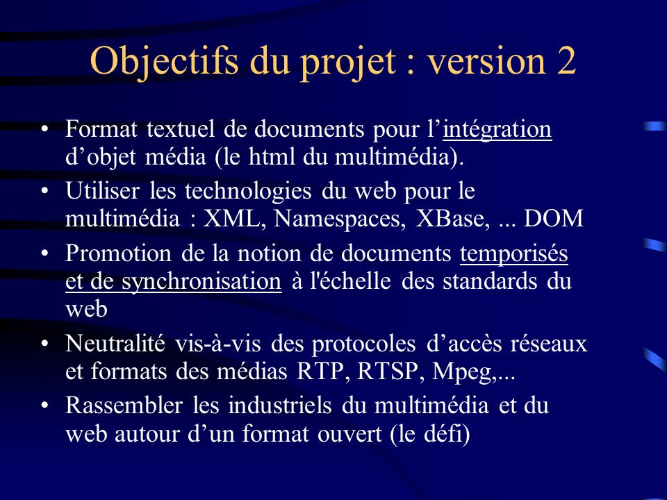 Objectifs du projet : version 2