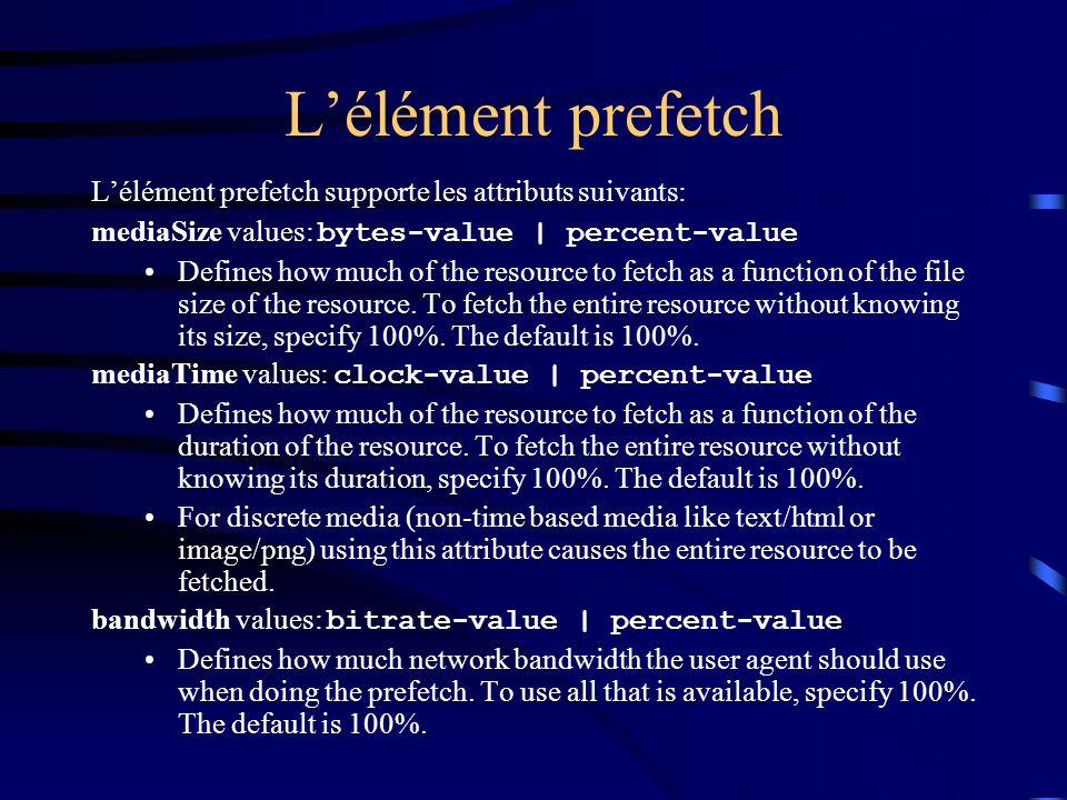 L'élément prefetch L'élément prefetch supporte les attributs suivants: