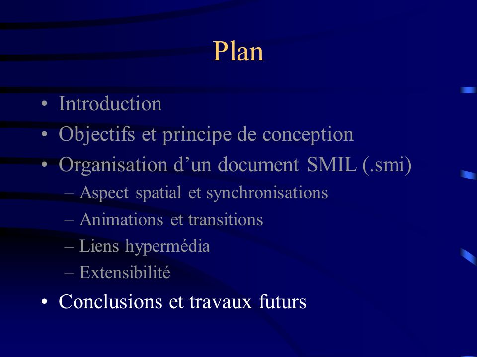 Plan Introduction Objectifs et principe de conception