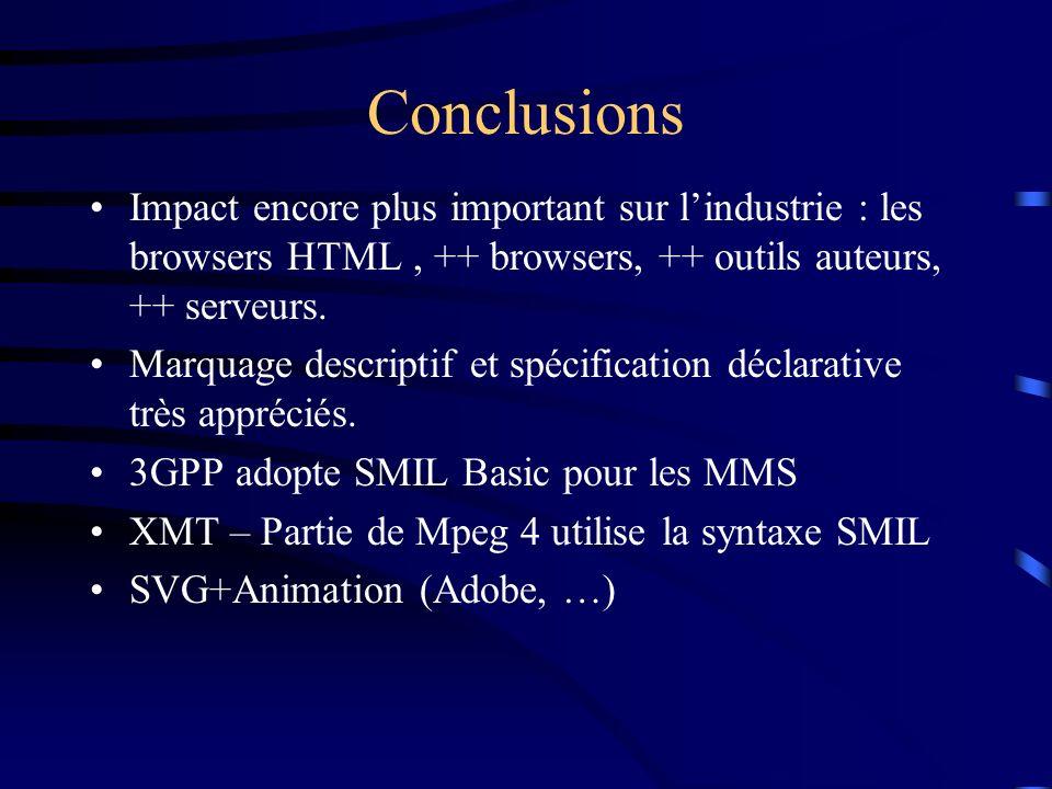 Conclusions Impact encore plus important sur l'industrie : les browsers HTML , ++ browsers, ++ outils auteurs, ++ serveurs.