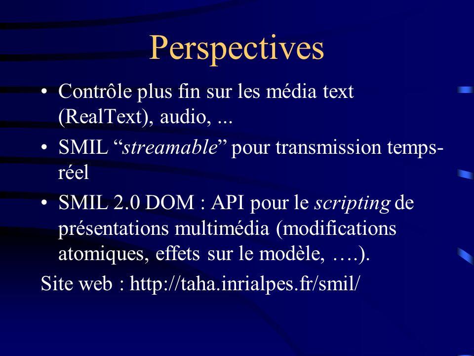 Perspectives Contrôle plus fin sur les média text (RealText), audio, ... SMIL streamable pour transmission temps-réel.