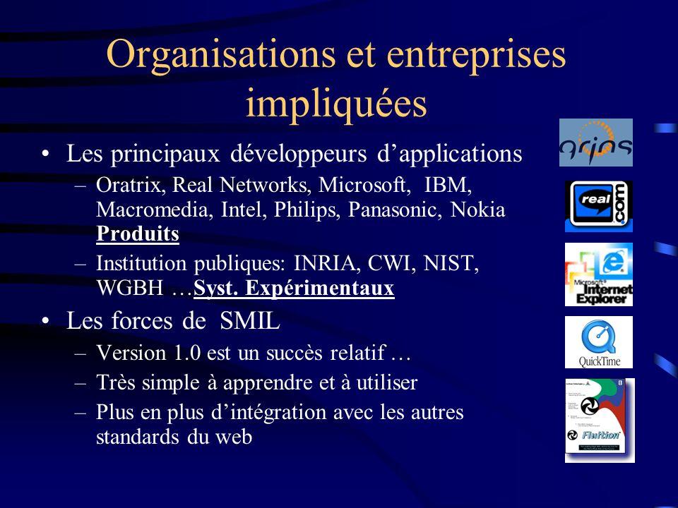 Organisations et entreprises impliquées