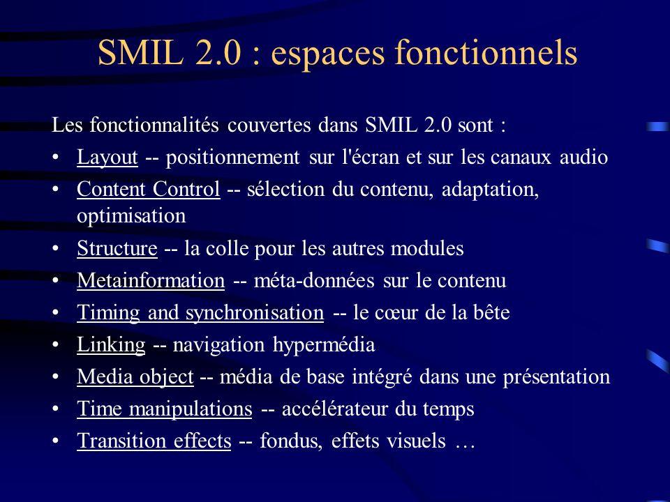 SMIL 2.0 : espaces fonctionnels