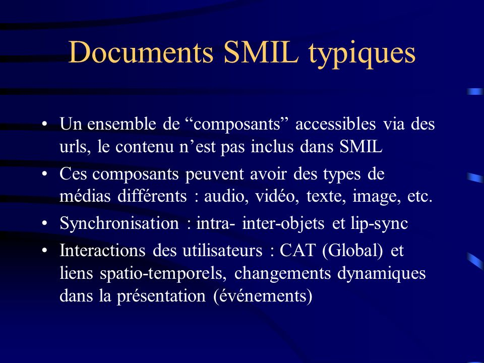Documents SMIL typiques