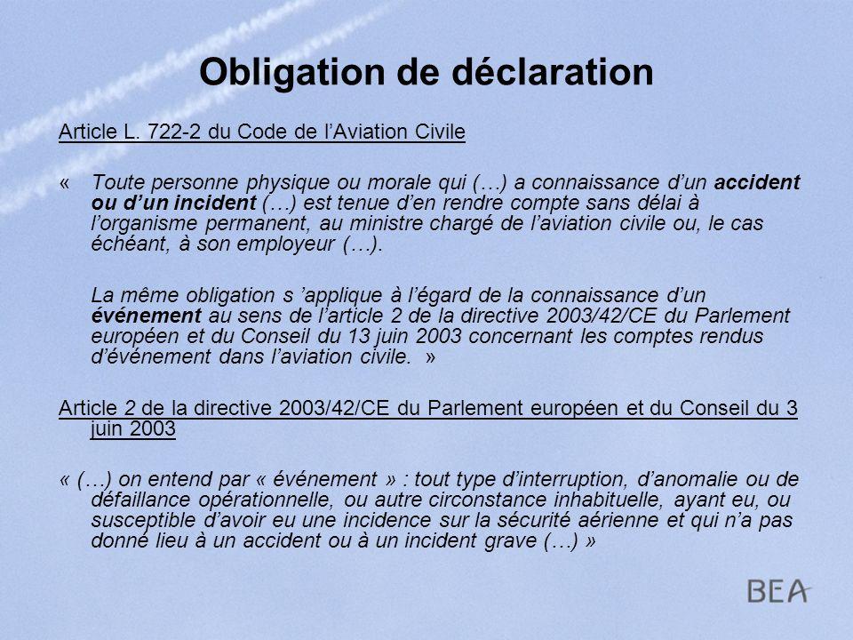 Obligation de déclaration