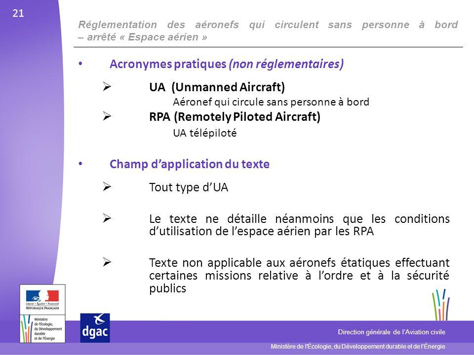 Acronymes pratiques (non réglementaires) UA (Unmanned Aircraft)