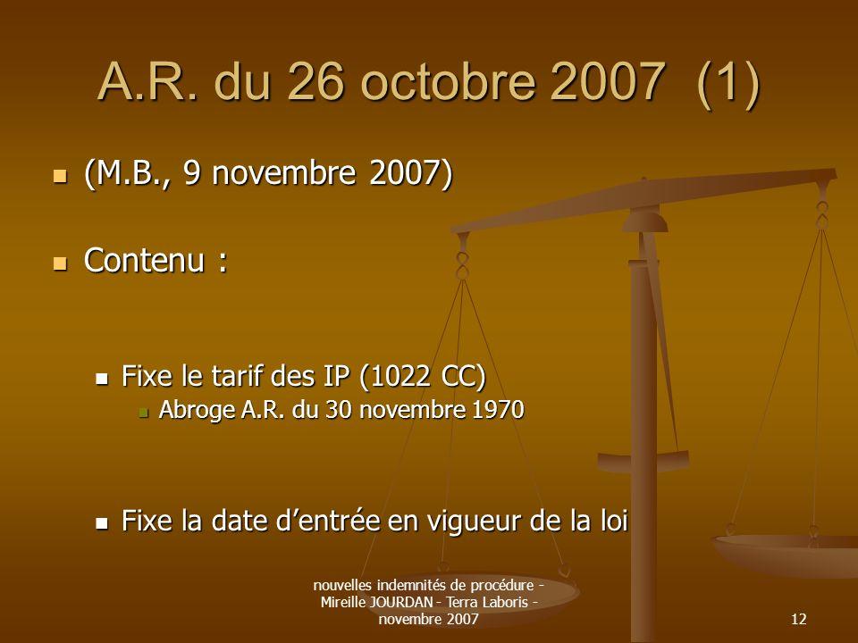 A.R. du 26 octobre 2007 (1) (M.B., 9 novembre 2007) Contenu :