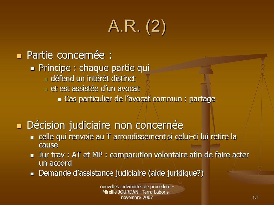 A.R. (2) Partie concernée : Décision judiciaire non concernée