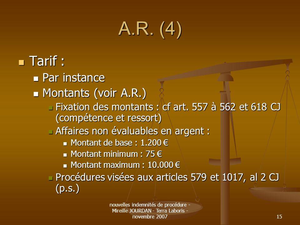A.R. (4) Tarif : Par instance Montants (voir A.R.)