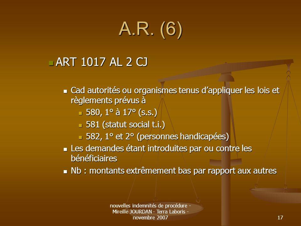 A.R. (6) ART 1017 AL 2 CJ. Cad autorités ou organismes tenus d'appliquer les lois et règlements prévus à.