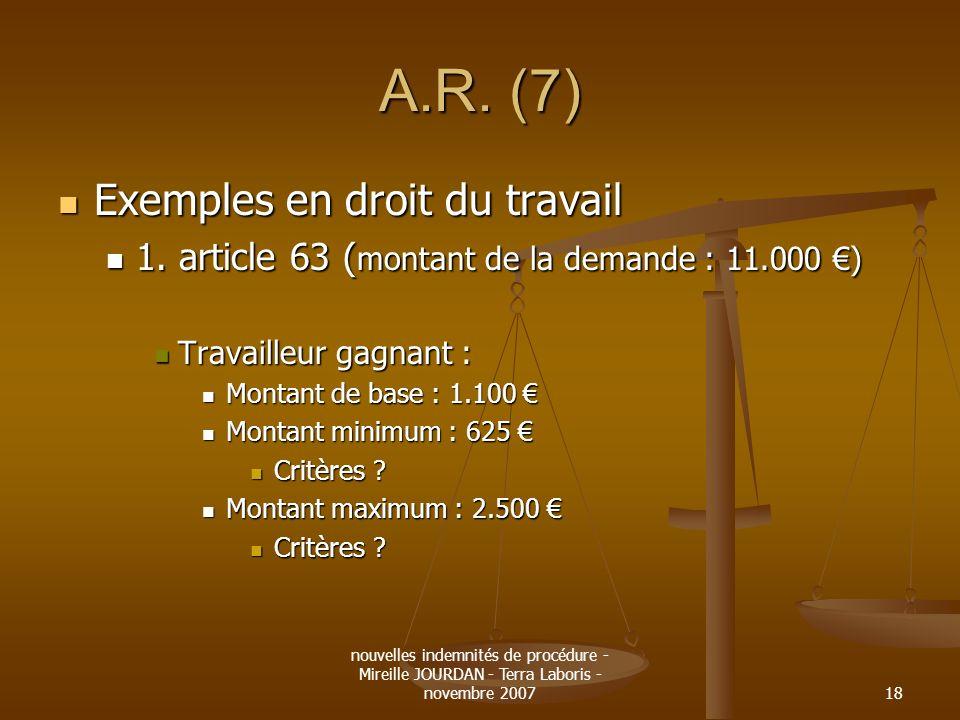 A.R. (7) Exemples en droit du travail