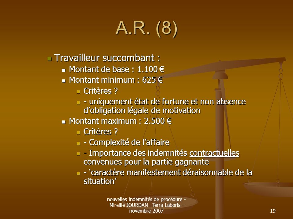 A.R. (8) Travailleur succombant : Montant de base : 1.100 €