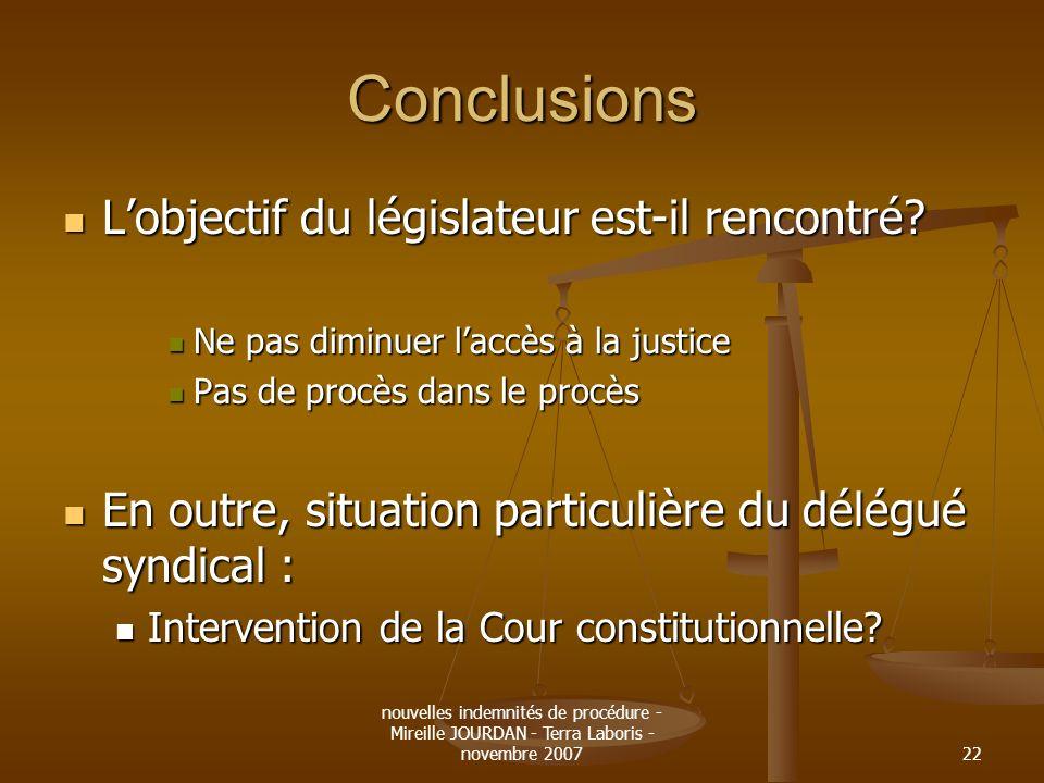 Conclusions L'objectif du législateur est-il rencontré