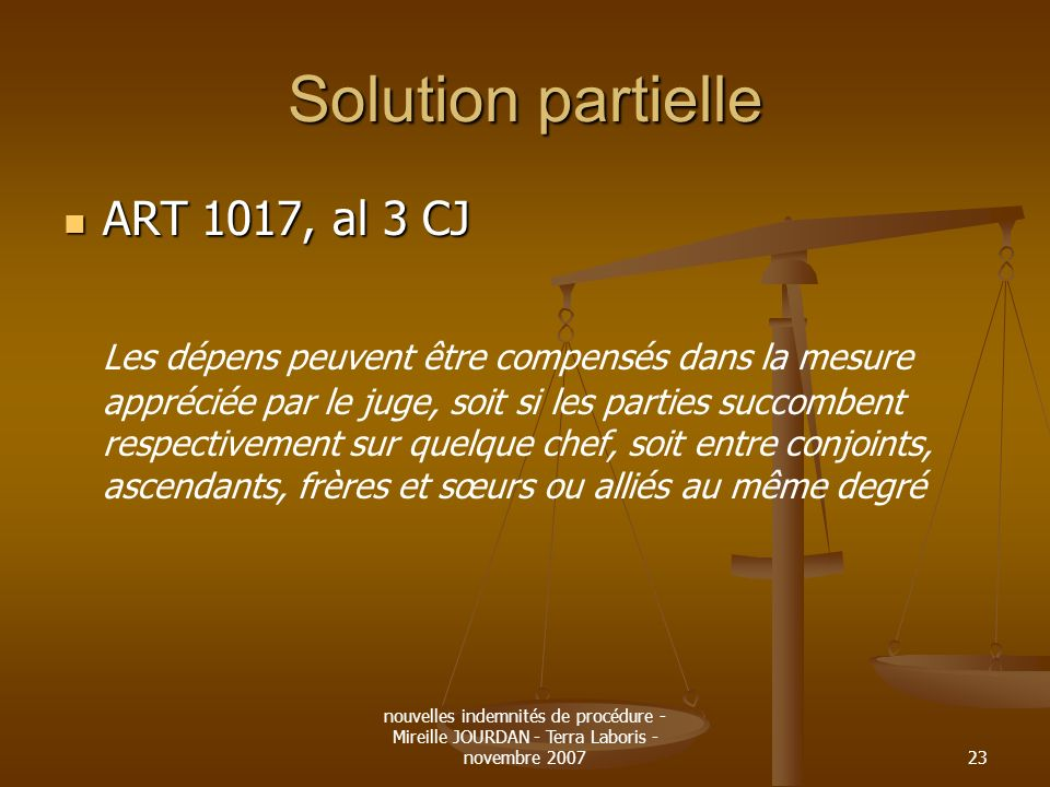Solution partielle ART 1017, al 3 CJ