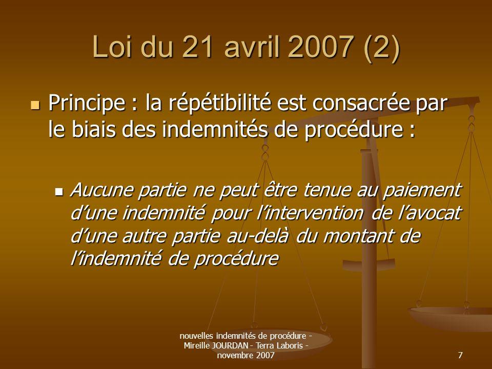 Loi du 21 avril 2007 (2) Principe : la répétibilité est consacrée par le biais des indemnités de procédure :