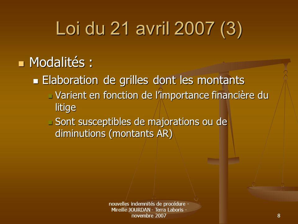 Loi du 21 avril 2007 (3) Modalités :