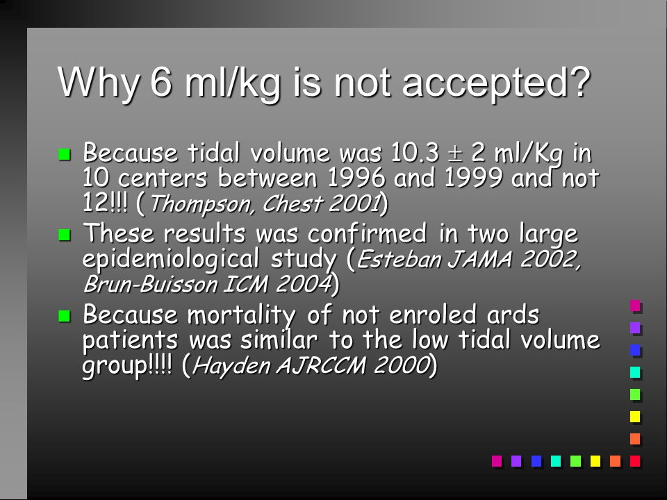 Why 6 ml/kg is not accepted