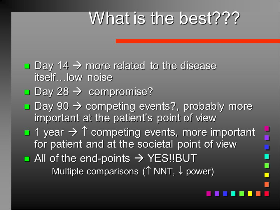 What is the best Day 14  more related to the disease itself…low noise. Day 28  compromise