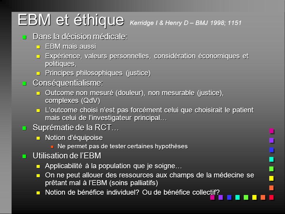 EBM et éthique Kerridge I & Henry D – BMJ 1998; 1151