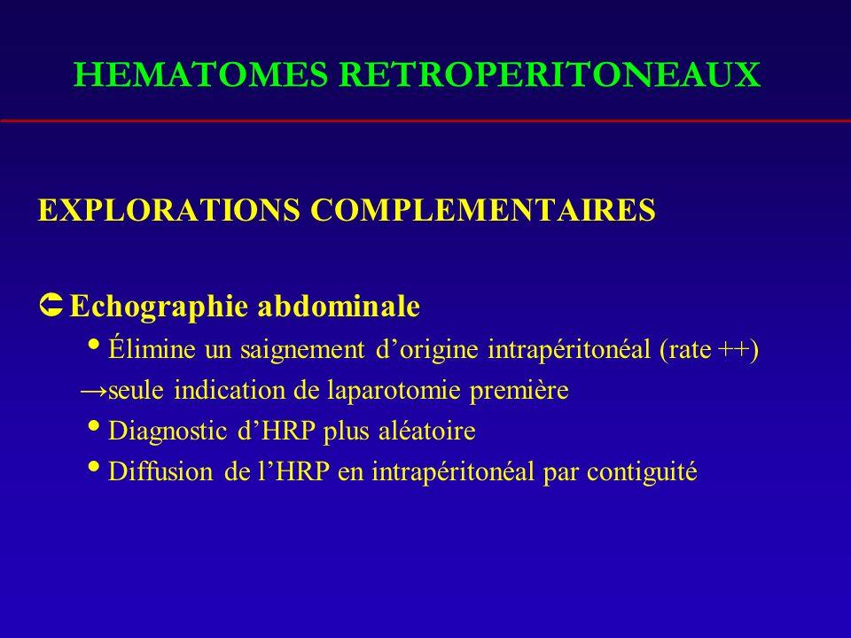 HEMATOMES RETROPERITONEAUX
