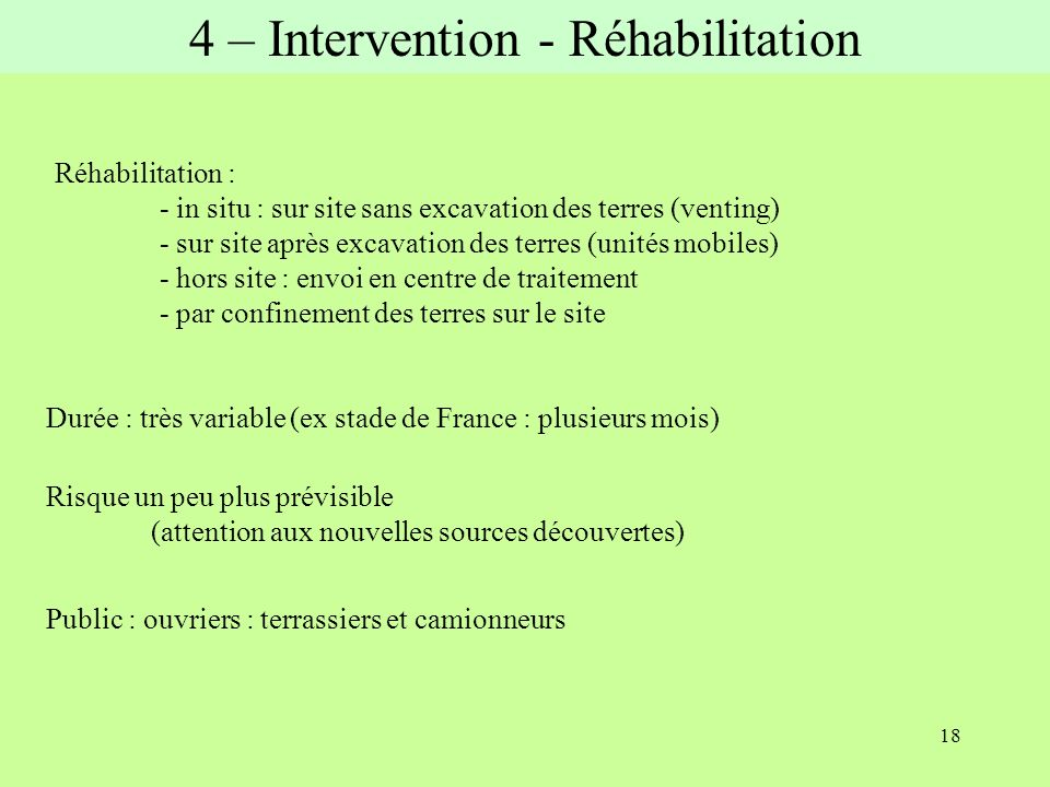 4 – Intervention - Réhabilitation