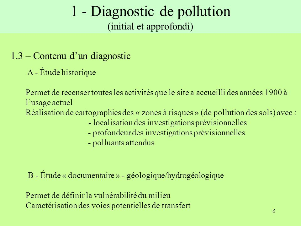 1 - Diagnostic de pollution