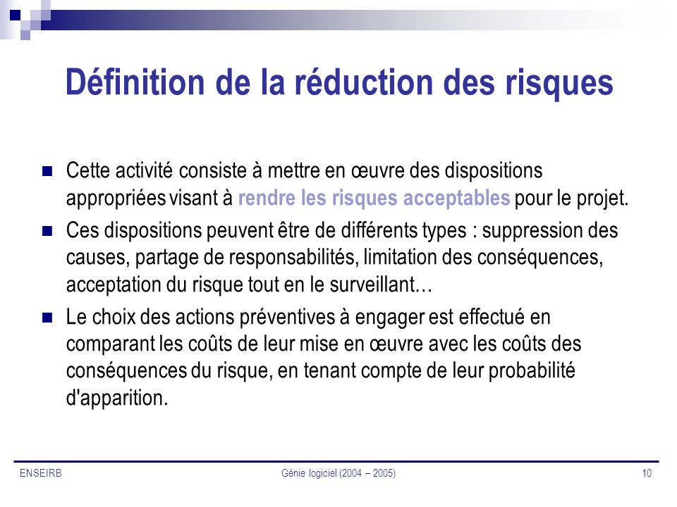 Définition de la réduction des risques