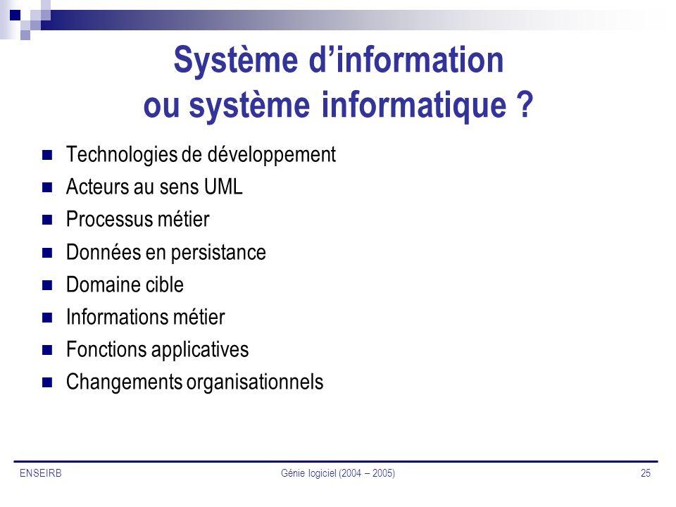 Système d'information ou système informatique