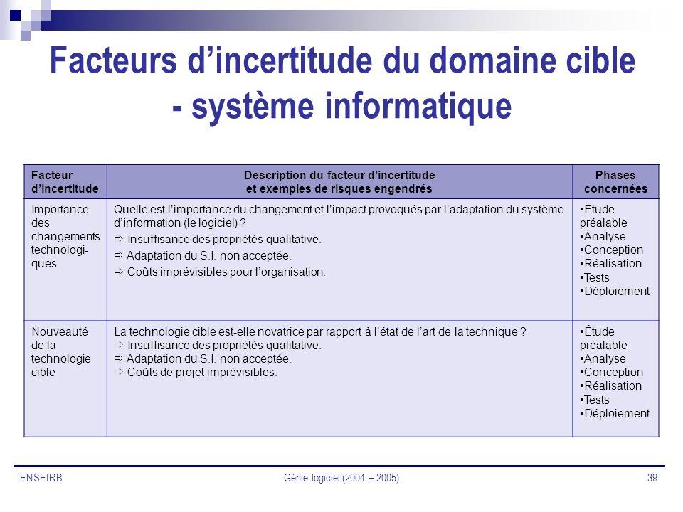 Facteurs d'incertitude du domaine cible - système informatique