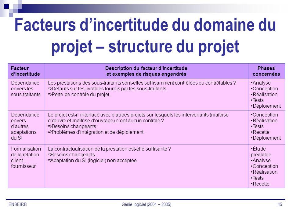 Facteurs d'incertitude du domaine du projet – structure du projet