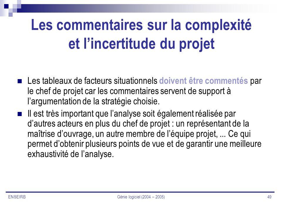 Les commentaires sur la complexité et l'incertitude du projet