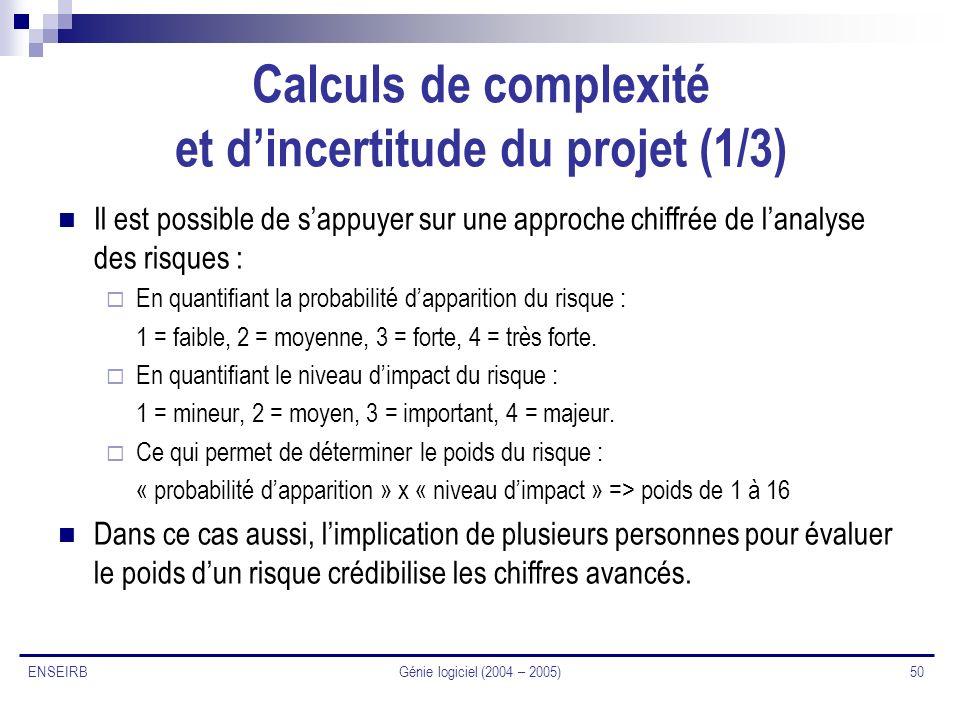 Calculs de complexité et d'incertitude du projet (1/3)