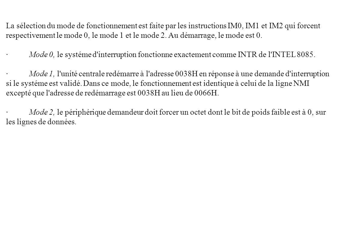 La sélection du mode de fonctionnement est faite par les instructions IM0, IM1 et IM2 qui forcent respectivement le mode 0, le mode 1 et le mode 2. Au démarrage, le mode est 0.