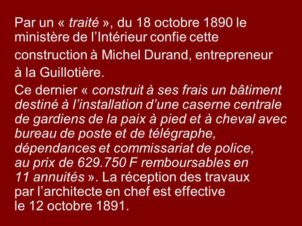 construction à Michel Durand, entrepreneur à la Guillotière.