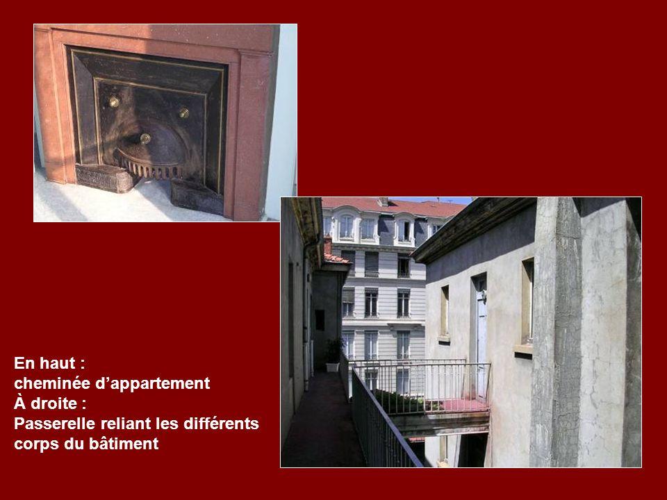 En haut : cheminée d'appartement À droite : Passerelle reliant les différents corps du bâtiment