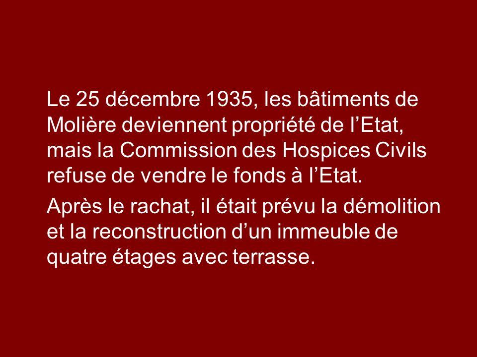 Le 25 décembre 1935, les bâtiments de Molière deviennent propriété de l'Etat, mais la Commission des Hospices Civils refuse de vendre le fonds à l'Etat.